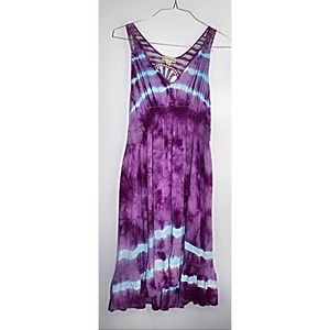 Live & Let Live Purple Tie Dye Midi Dress
